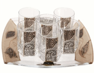 Brown Glass Liquor Set with Matching Tray by Lily Art