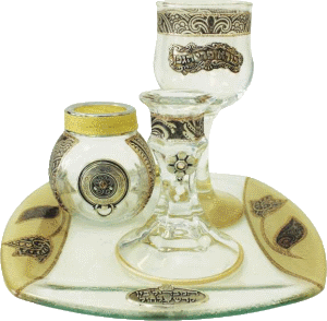 Brown Glass Havdalah Set with Matching Tray by Lily Art