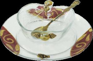 Burgundy Glass Apple Shaped Honey Dish Set By Lily Art