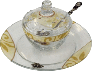 Pearl And Gold Round Crystal Honey Dish Set By Lily Art