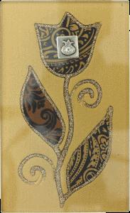Brown Large Glass Match Box By Lily Art Pomegranate