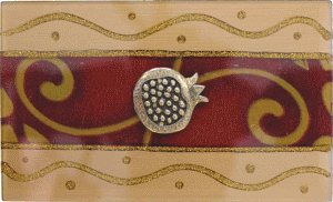 Burgundy Large Glass Match Box By Lily Art Pomegranate