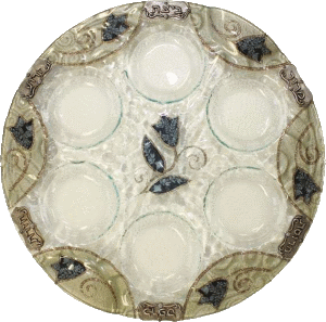 Blue Tulips Round Crystal Seder Plate By Lily Art