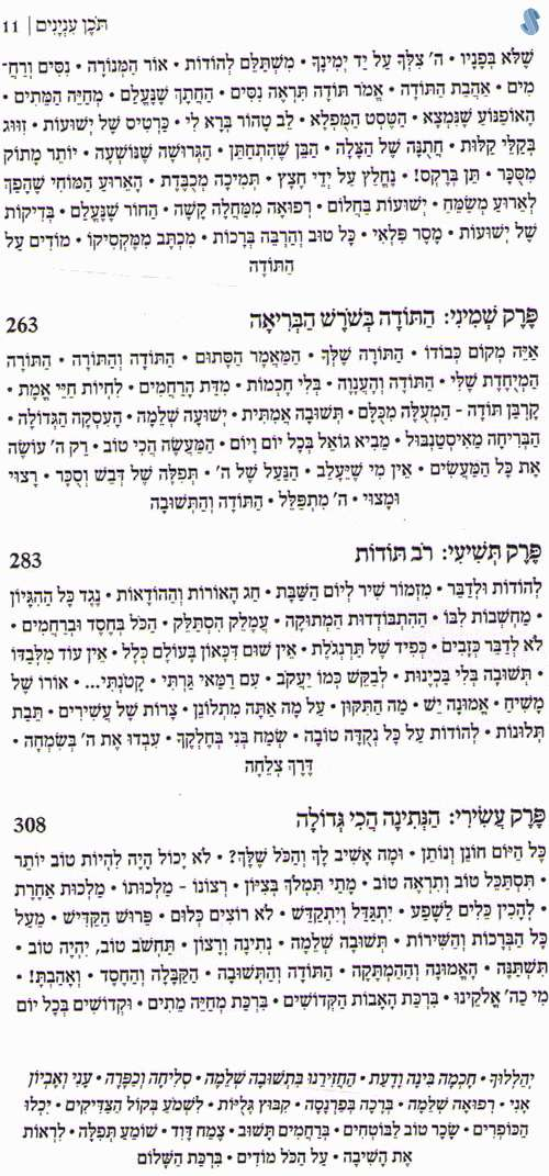 Inside sample pages of 'שעריו בתודה'