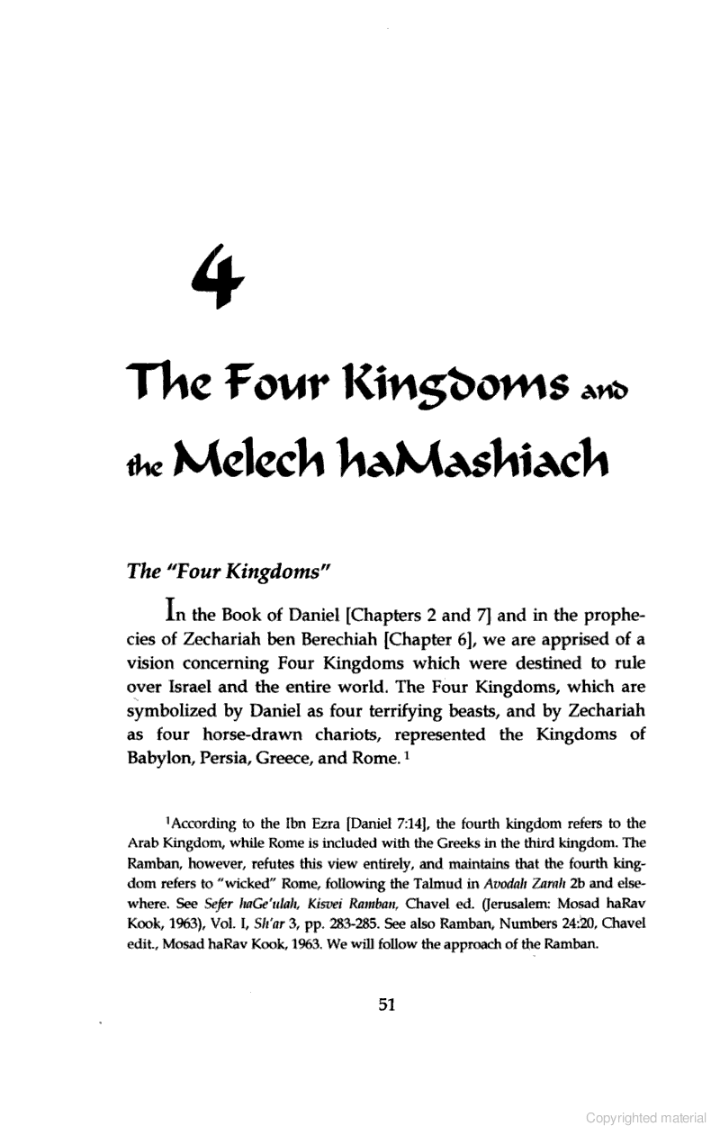 Page 51: The Four Kingdoms and the Melech Hamashiach